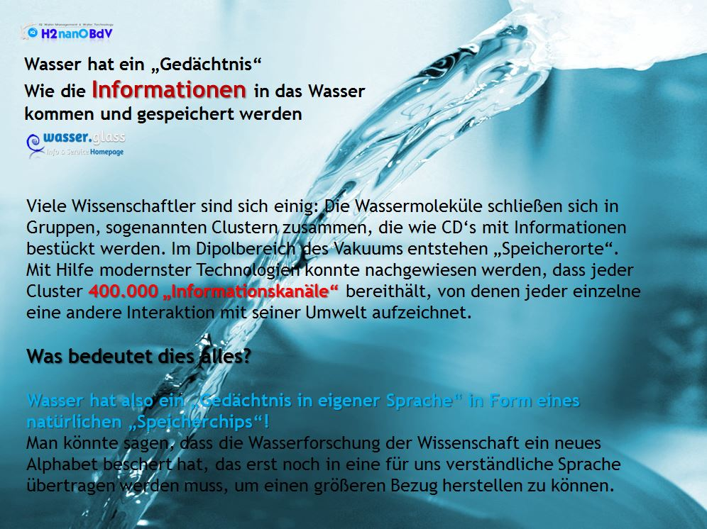 Wasser Gedächtnis Wissenschaft